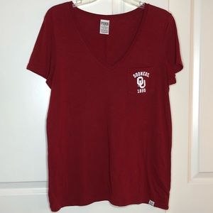 Pink V neck Marroon Sooners pocket Tshirt